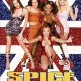 the poster for spice world featuring all five girls smiling at the camera with a British flag as the background